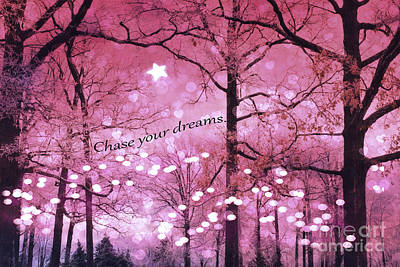 Surreal Fantasy Fairy Lights Inspirational Nature Woodlands Trees With Sparkling Lights And Stars Poster by Kathy Fornal
