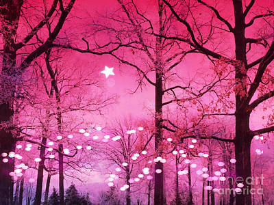 Surreal Fantasy Fairytale Dark Pink Haunting Woodlands Nature With Stars And Twinkling Lights Poster by Kathy Fornal