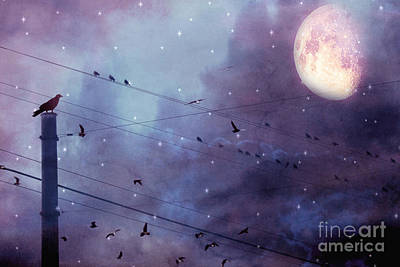 Surreal Fantasy Gothic Raven Moonlit Starry Night - Raven Birds On Powerline With Moon And Stars  Poster by Kathy Fornal