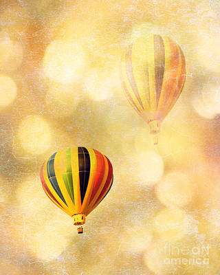 Surreal Fantasy Hot Air Balloon Dreamy Yellow Balloon Festival Art Poster