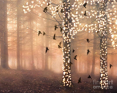 Surreal Fantasy Nature Trees Woodlands Forest Sparkling Lights Birds And Trees Nature Landscape Poster