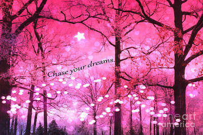 Surreal Fantasy Pink Nature With Inspirational Message - Hot Pink Sparkling Twinkling Lights Trees Poster by Kathy Fornal