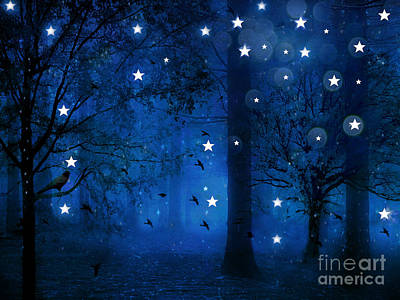 Surreal Fantasy Sparkling Blue Woodlands Forest Trees With Stars - Starlit Fantasy Nature Poster