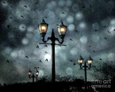 Surreal Fantasy Street Lamps Dreamy Flying Ravens Haunting Night Lights With Bokeh Poster by Kathy Fornal