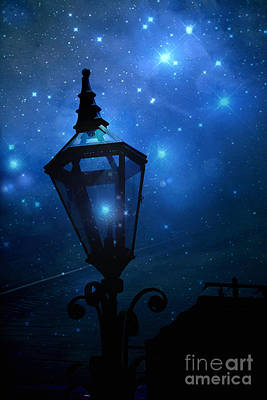 Surreal Fantasy Twinkling Sparkling Night Lantern With Stars And Sparkling Moon Light Poster by Kathy Fornal