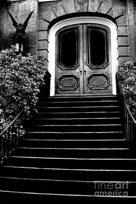 Charleston Surreal Gothic Black And White Staircase And Door With Gargoyle Poster by Kathy Fornal