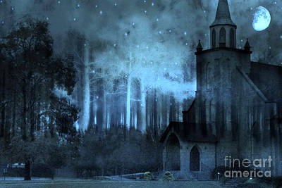 Surreal Gothic Church Full Moon And Stars Poster by Kathy Fornal