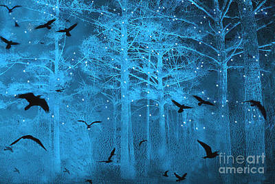 Surreal Gothic Fantasy Blue Starry Woodlands Forest With Flying Ravens Poster