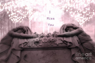 Surreal Gothic Sad Angels Cemetery Mourners At Grave - I Miss You Poster by Kathy Fornal