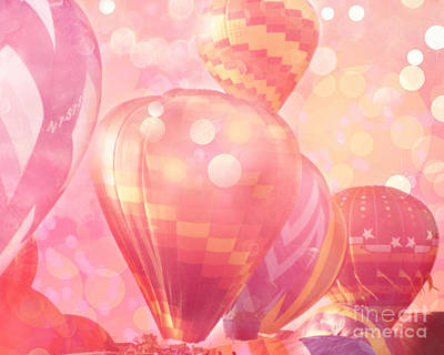 Surreal Hot Pink Orange And Yellow Hot Air Balloons - Hot Air Balloons Festival Fantasy Art Prints Poster