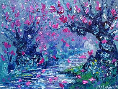 Surreal Landscape Art Pink Flower Tree Painting By Ekaterina Chernova Poster