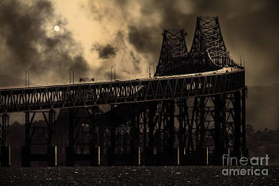 Surreal Night At The Bay Area Richmond-san Rafael Bridge - 7d18536 - Sepia Poster by Wingsdomain Art and Photography