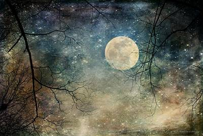 Surreal Night Sky Moon And Stars Poster