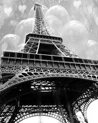 Surreal Paris Black And White Eiffel Tower With Balloons - Black And White Paris Fine Art Poster by Kathy Fornal