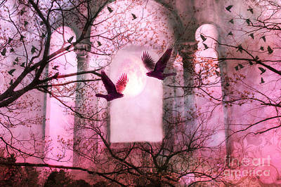 Surreal Pink Fantasy Forest Trees Nature With Flying Ravens Poster by Kathy Fornal