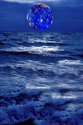 Surreal Planet Rising Over Blu Waters Poster by Christian Lagereek
