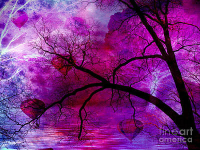 Surreal Abstract Fantasy Purple Pink Trees Hot Air Balloons Poster by Kathy Fornal