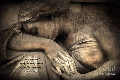 Surreal Sad Angel Cemetery Mourners At Grave With Inspirational Message Of Memories Poster by Kathy Fornal
