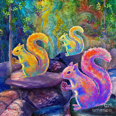 Surreal Squirrels In Square Poster