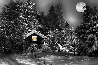 Surreal Winter Landscape With Moonlight Poster