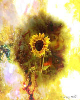 Surrealistic Sunflower Artistry Poster by J Larry Walker