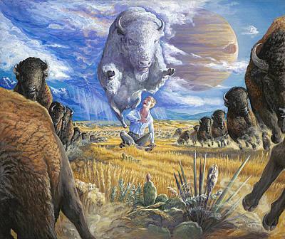 Surrender To The White Buffalo Poster by Brenda Ferrimani