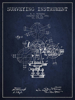 Surveying Instrument Patent From 1901 - Navy Blue Poster by Aged Pixel