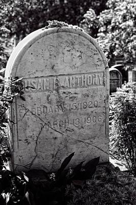 Susan B. Anthony Grave Marker Bw Poster