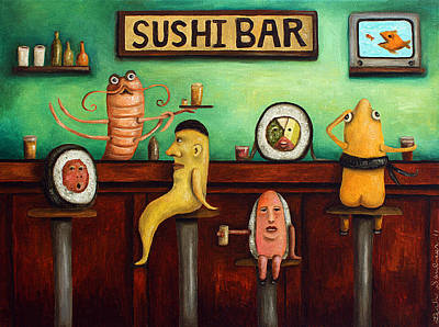 Sushi Bar Improved Image Poster by Leah Saulnier The Painting Maniac