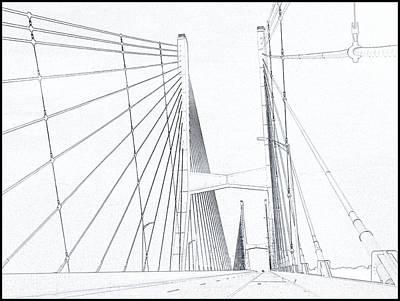 Suspension Bridge Sketch Poster by Dan Sproul