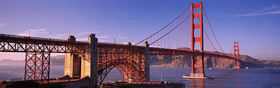 Suspension Bridge At Dusk, Golden Gate Poster by Panoramic Images
