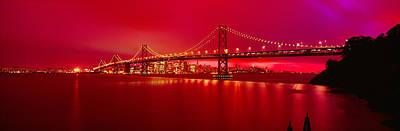 Suspension Bridge Lit Up At Night, Bay Poster