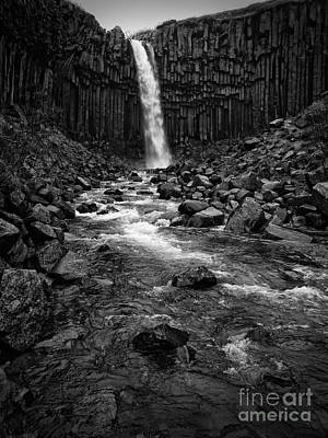 Svartifoss Waterfall In Black And White Poster