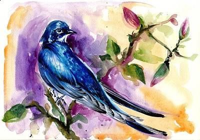 Swallow In Magnolia Watercolor Poster by Tiberiu Soos