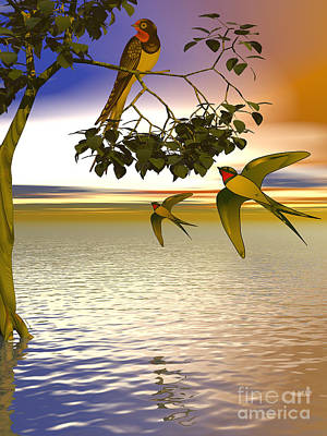 Poster featuring the digital art Swallows At Sunset by Sandra Bauser Digital Art
