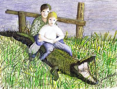 Poster featuring the painting Swamp Boys by June Holwell