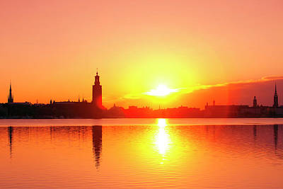 Sweden - Stockholm Skyline At Dawn Poster by Panoramic Images