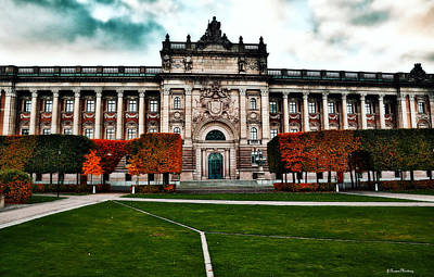 Swedish Parliament House In Autumn Poster by Ramon Martinez