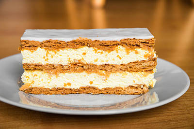 Sweet And Tasty Slice Of Cream Cake Poster