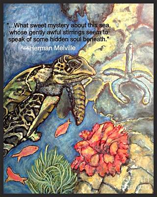 Poster featuring the mixed media Sweet Mystery Of This Sea A Hawksbill Sea Turtle Coasting In The Coral Reefs 2 by Kimberlee Baxter