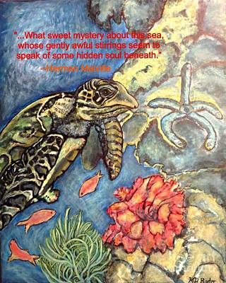 Sweet Mystery Of This Sea A Hawksbill Sea Turtle Coasting In The Coral Reefs Poster by Kimberlee Baxter