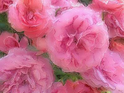 Poster featuring the mixed media Sweet Pink Roses  by Gabriella Weninger - David