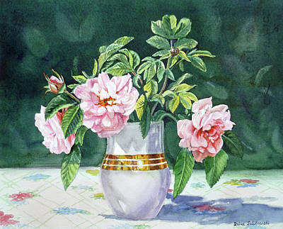 Poster featuring the painting Sweet Tea Roses Bouquet by Irina Sztukowski