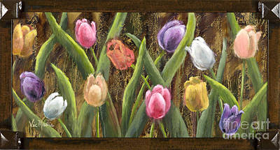 Sweet Tulips With Frame Andgold Leaf By Vic Mastis Poster