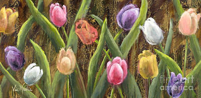 Sweet Tulips With Gold Leaf By Vic Mastis Poster