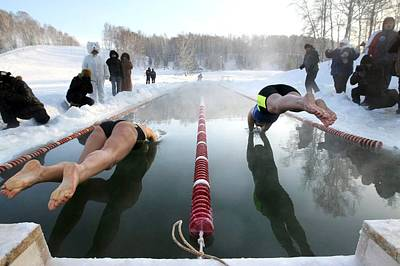 Swimmers Diving Into Ice-covered Pool Poster