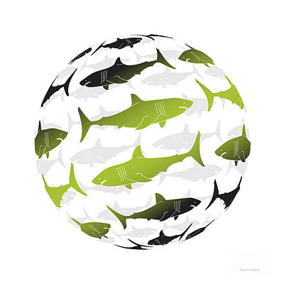 Swimming Green Sharks Around The Globe Poster by Amy Kirkpatrick
