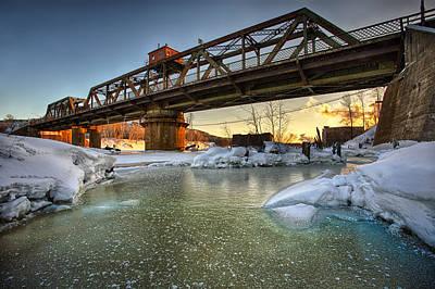 Swing Bridge Frozen River Poster