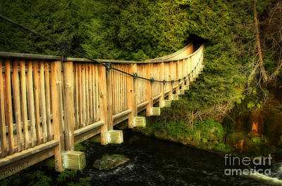 Swing Bridge In A Heritage Village Poster