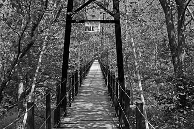 Swinging Bridge Patapsco State Park Bw Poster